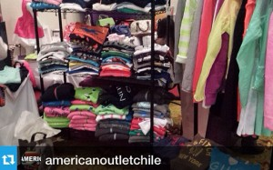American Outlet Chile y su stand con productos Abercrombie, Hollister, Gillyhicks y Victoria Secrets